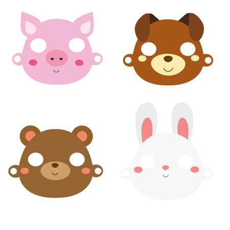 Animal paper masks. Pig, rabbit, bear and dog face masks for party or photo and video chat.