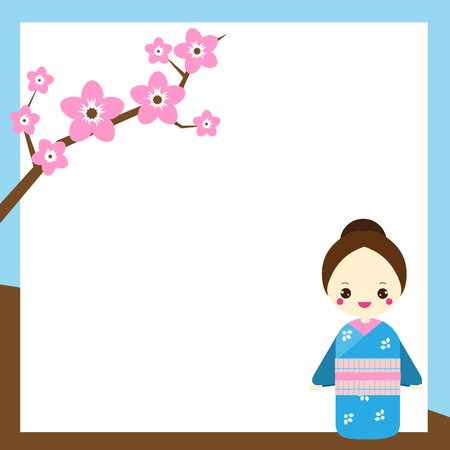 Japanese background with cute woman in kimono and sakura branch. Backdrop for oriental design