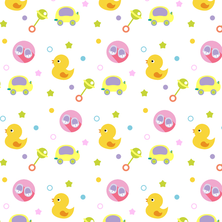 baby pattern for textile or fabric. Background with children toys for kids design