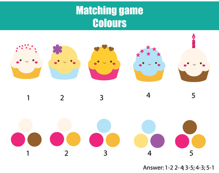 Educational children game. Matching game worksheet for kids. Match by color. Find pairs of cupcakes and colours