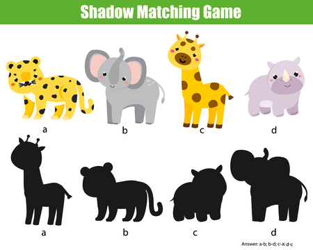 Shadow matching game. Activity with african animals for kids, toddlers and children Illustration