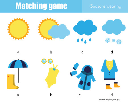 Matching game. Educational children activity. Learning weather and seasonal wearing 版權商用圖片 - 114084269