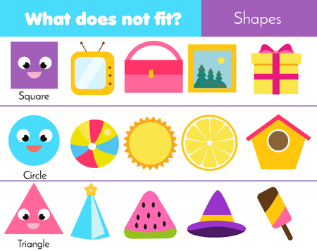 Educational children game. Logic game. What does not fit type. learning geometric shapes for kids and toddlers. Illusztráció