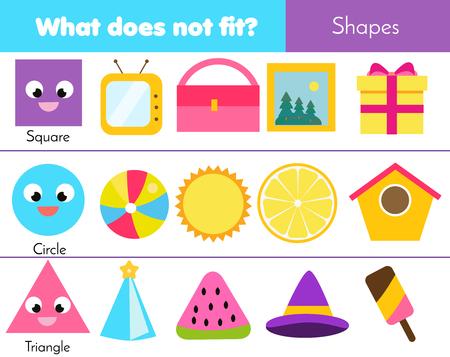 Juego educativo para niños. Juego de lógica. Lo que no encaja con el tipo. aprender formas geométricas para niños y niños pequeños.