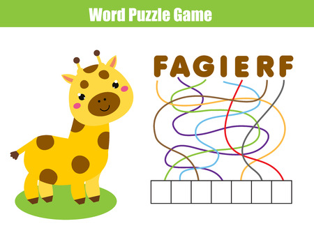 Words puzzle children educational game. Place the letters in right order. Learning vocabulary. Animals theme.