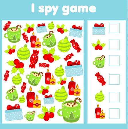 I spy game for toddlers. Find and count objects. Counting educational activity for children and kids. Christmas and new year holidays theme.