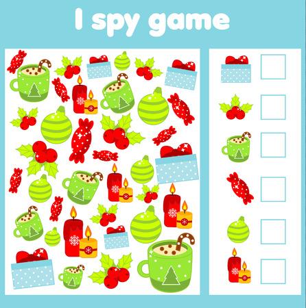 Ik bespioneer spel voor peuters. Zoek en tel objecten. Educatieve activiteit voor kinderen en kinderen tellen. Kerstmis en Nieuwjaar vakantie thema. Vector Illustratie