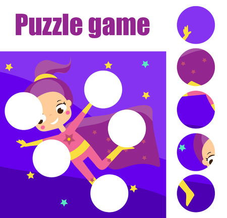 Supergirl fly puzzle for toddlers. Match pieces and complete the picture. Educational game for children. Beach sport theme Banque d'images - 114084320