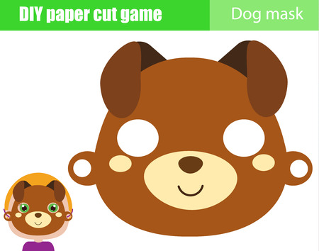 DIY children educational creative game. Make an animal party mask with scissors. Dog face. Paper mask for kids printable sheet