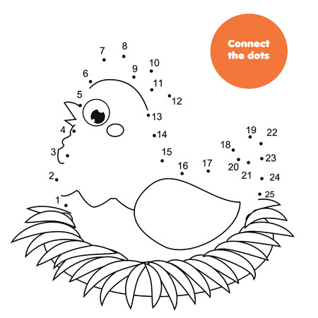 Connect the dots. Children educational game. Dot to dot by numbers for kids. Animals theme worksheet activity for toddlers with cartoon hen sitting on nest