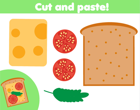 Creative children educational game. Paper cutting activity. Make a sandwich with glue and scissors. Play cooking for kids