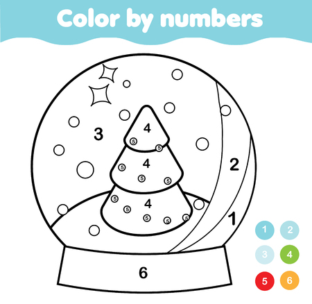 Coloring page. Educational game for children. Color Christmas snow globe. Drawing printable activity for kids, toddlers. New Year holidays theme Stock Photo - 114084465