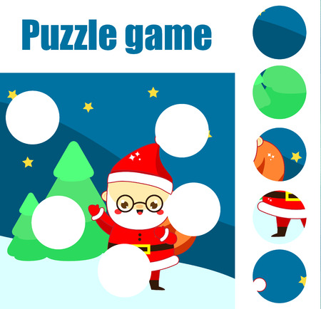 Puzzle for toddlers. Educational game. Complete the picture with Santa Claus in forest. Christmas and New Year holidays theme fun page for children
