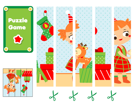 Puzzle for toddlers. Educational game. Complete the picture with girl unpack Christmas gifts. New Year holidays theme fun page for children Illustration