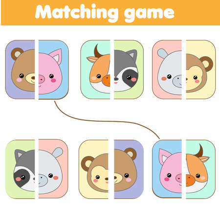 Matching educational game. match animals faces. Activity page for kids, children, toddlers. Learning symmetry Stock Photo