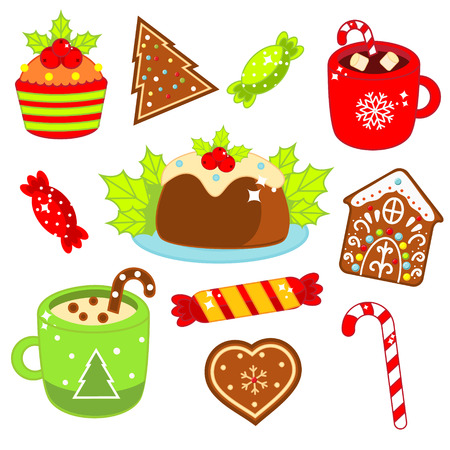Christmas food and drink. Gingerbread cookies, candy cane, sweets and other. Colorful stickers, icons for New Year menu and other design