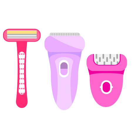 Epilation and hair removal tools for female. Epilators and razor. Women hygiene and beauty gadgets. Isolated icons Archivio Fotografico - 127666546