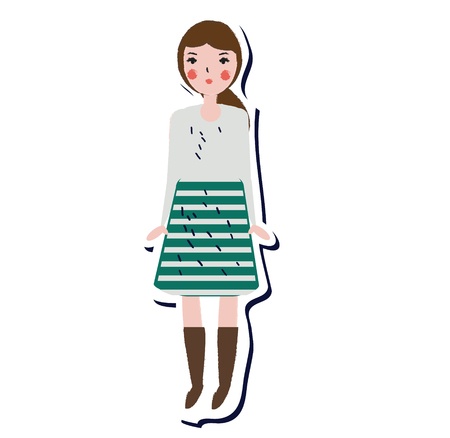 Female in skirt and sweater. Lifestyle fashion girl sticker in artistic hand drawn style. Vector illustration for modern design Illustration