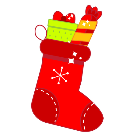 Red Christmas sock with gifts. New Year stockings full of sweets. Isolated icon Illustration