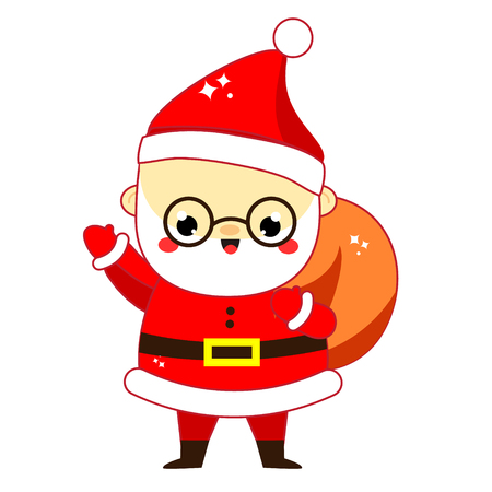 Cute Santa Claus. Daddy Frost with bag full of presents. New Year and Christmas character in kawaii style. Isolated vector icon