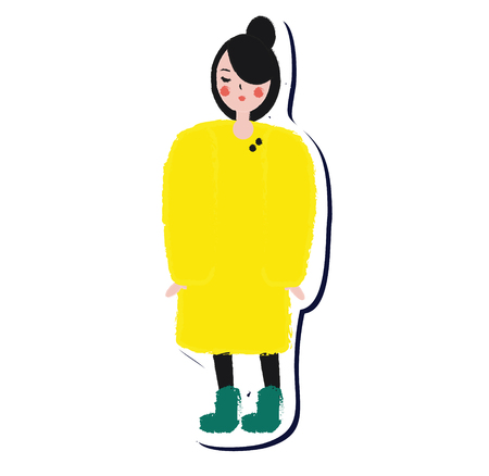 Female in yellow winter coat. Lifestyle fashion girl sticker in artistic hand drawn style. Vector illustration for modern design