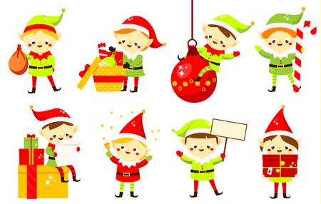 Weihnachtselfen. Sammlung süße Weihnachtsmann-Helfer, die Geschenke, Süßigkeiten und anderes halten. Lustige Cartoon-Neujahrszeichen für Grußdesign Vektorgrafik