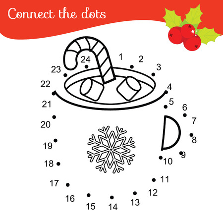 Children educational game. Connect dots by numbers. New Year, Christmas drink. Dot to dot printable worksheet for toddlers and pre school years kids Illustration