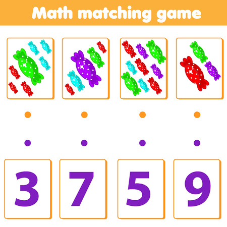Mathematics educational game for children. Match objects with numbers. Counting game for pre school age kids and toddlers Illustration