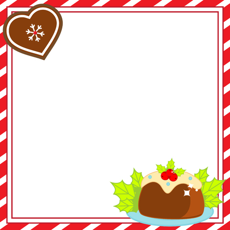 Decorated Christmas frame. New Year blank background with seasonal bakery food. Template for invitations, advertisements, greeting cards and winter holidays design