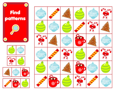 Children educational game. Find and show patterns. New year and Christmas theme activity for pre school years kids and toddlers.