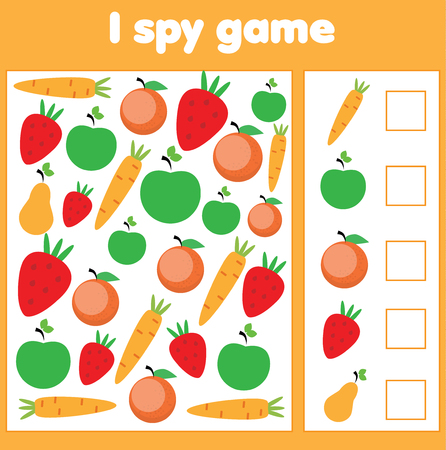 I spy game for toddlers. Find and count vegetables and fruits. Children educational game. study methematics page for pre school years kids Illustration