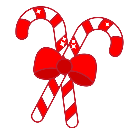 Christmas candy cane with bow. New Year icon. Isolated clip art