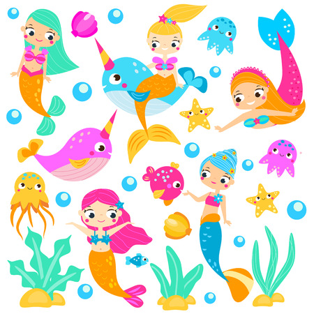 Cute mermaids. Cartoon mermaid, narwhals, fishes and other underwater characters. Stickers, clip art, isolated elements for invitations, scrapbook, mobile games 일러스트