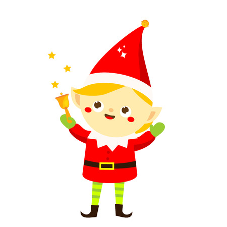 Christmas elf. Cute Santa's helper holding bell. Isolated cartoon character for new Year greeting design