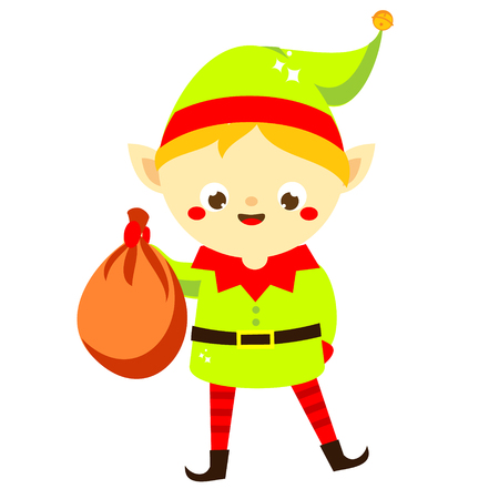 Christmas elf. Cute Santas helper holding presents bag. Isolated cartoon character for new Year greeting design