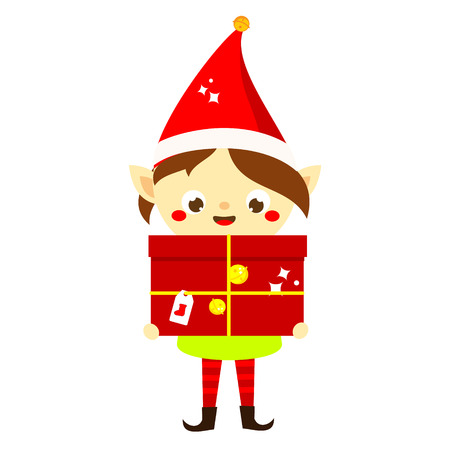 Christmas elf. Cute Santa's helper holding big present. Isolated cartoon character for new Year greeting design