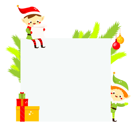 Christmas and New year blank background with cute elf and spruce. winter holidays banner design template for advertisements, greeting cards, seasonal sale