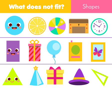 Educational children game. Logic game. What does not fit type. learning geometric shapes for kids and toddlers.