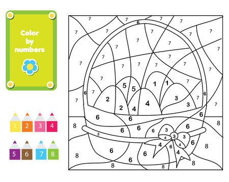 Coloring page for kids. Educational children game. Color by numbers fun page for toddlers. Easter Eggs Illustration