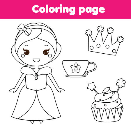 Children educational game. Coloring page with cute princess, cup and crown. printable activity, worksheet for toddlers and pre school age