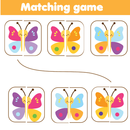 Matching children educational game. Match parts of colorful butterflies. Learning symmetry for kids and toddlers