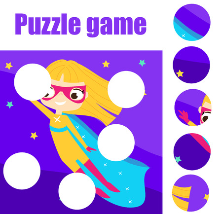 Educational children game. Puzzle for toddlers. Match pieces and complete the picture. Supergirl fly in night sky Illustration