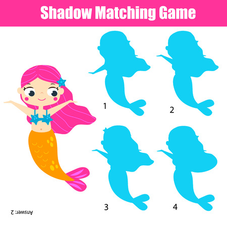 Shadow matching game for children. Find the right shadow. Kids activity with cute mermaid Vectores