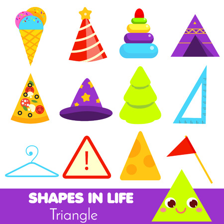 Shapes in life. triangle. Learning cards for kids. Educational infographic for children and toddlers. Study geometric shapes. Visual aid