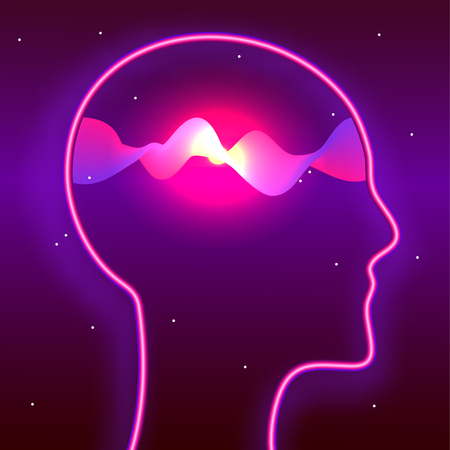 Human head and glowing waves inside. Mindfulness, brain power, meditation concept. Biohacking, neurobiology theme illustration