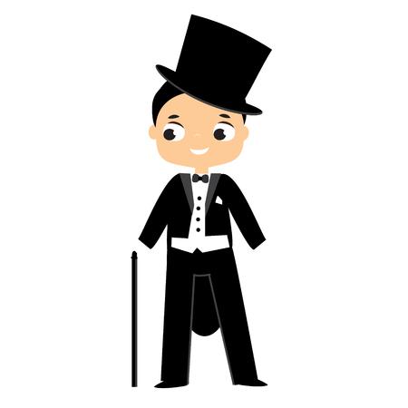 Elegant boy dressed in tailcoat and top hat. Victorian fashion gentleman