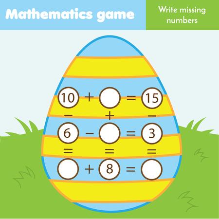 Mathe-Lernspiel für Kinder. Schreibe fehlende Zahlen und vervollständige Gleichungen. Subtraktion und Addition studieren. Mathematikarbeitsblatt zum Thema Ostern für Kinder Vektorgrafik