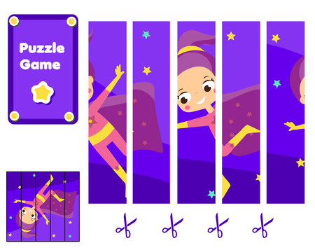 Supergirl fly. Puzzle for toddlers. Match pieces and complete the picture. Educational children game, kids sctivity page