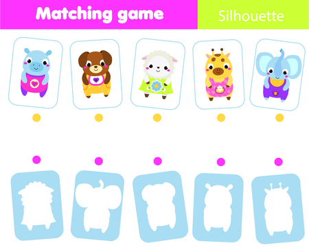 Educational children game. Match animals with silhouette. Fun page for toddlers and preschool kids. Study shapes and shadows