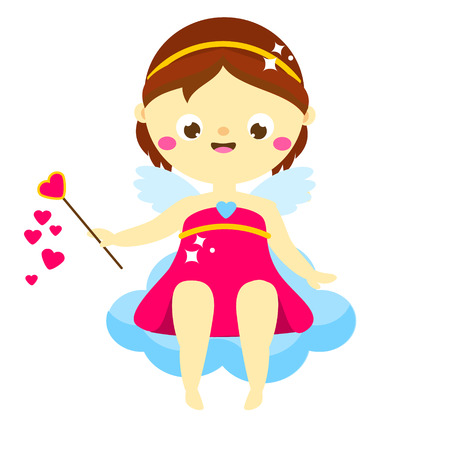 Cute Cupid girl sitting on cloud. cartoon St Valentines day character. Amur boy. Isolated angel for romantic valentines design.